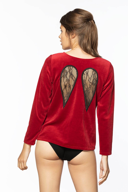 Punane pikakäistega pluus tiibadega 119€